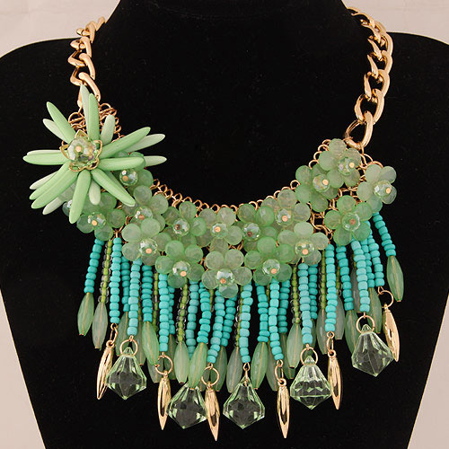 Fashion Green Flower Decorated Color Matching Necklace