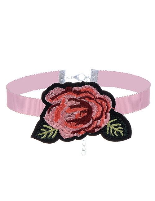Fashion Pink Embroidery Flowers Decorated Color Matching Simple Choker