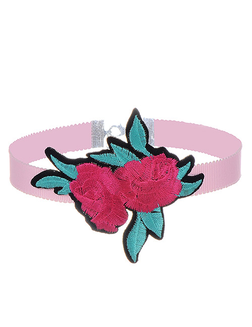 Fashion Plum Red Embroidery Flowers Decorated Color Matching Simple Choker