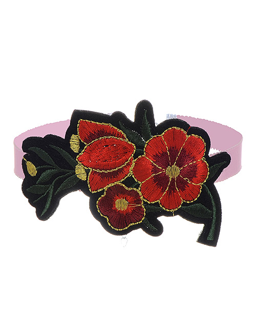 Fashion Red Embroidery Flowers Decorated Color Matching Simple Choker