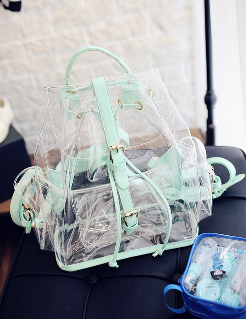 Fashion Green Color Matching Decorated Transparent Design Backpack