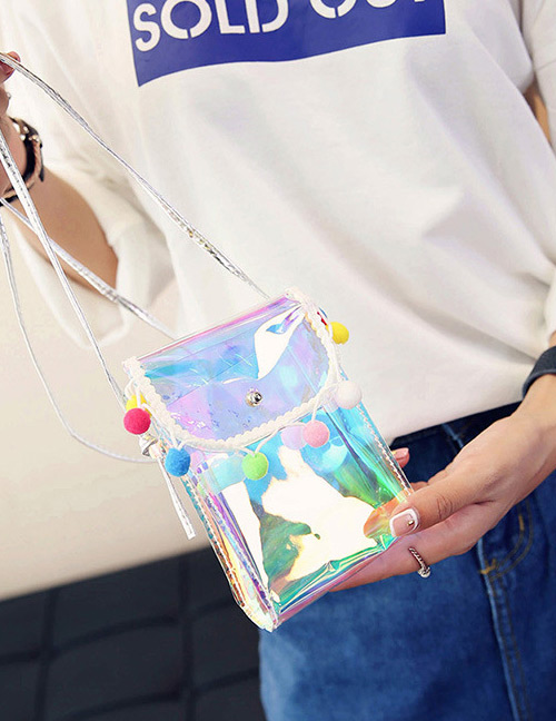 Fashion Multi-color Fuzzy Balls Decorated Color Matching Shoulder Bag