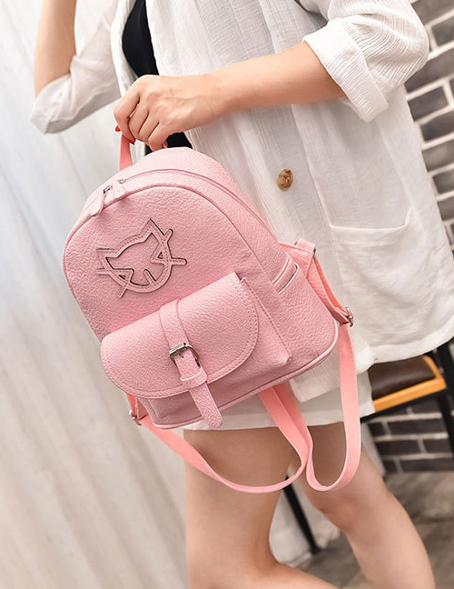 Fashion Pink Cartoon Cat Pattern Decorated Pure Color Simple Backpack