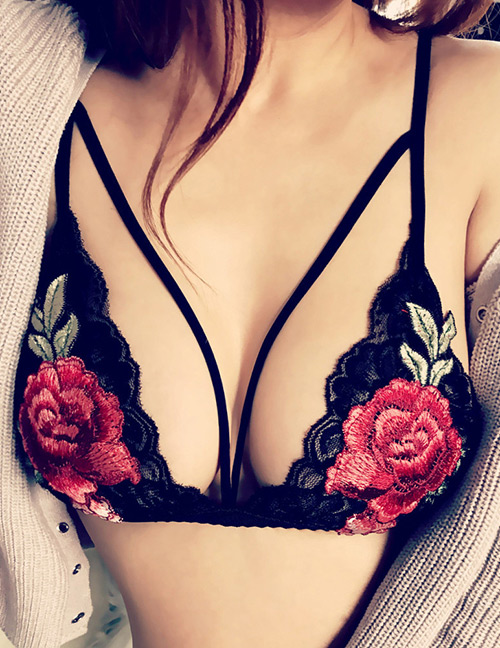 Sexy Black Rose Shape Decorated Simple Lace Up Bra