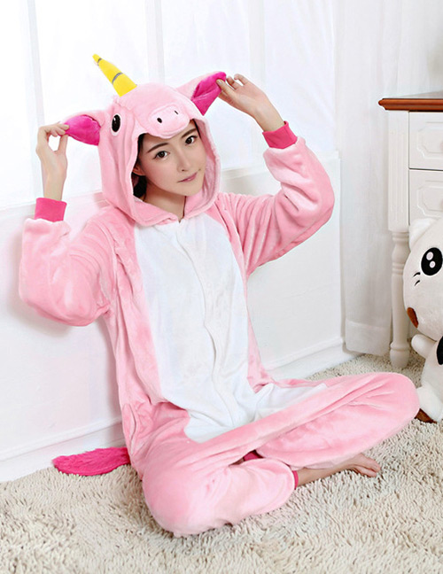 Lovely Pink Unicorn Design Color Matching Connection Pajamas