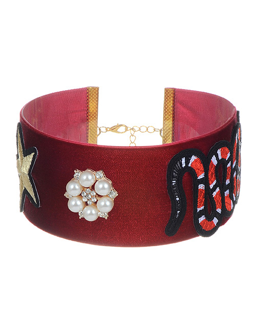 Vintage Claret-red Snake Pattern Decorated Simple Choker
