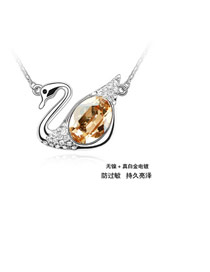 Ruffled Gold Color Swan Design Crystal Crystal Necklaces