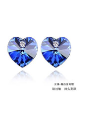 Famale Blue Earrings Alloy Crystal Earrings