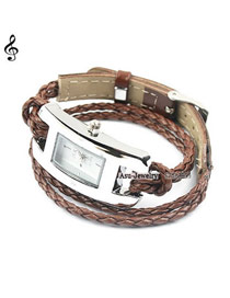 Varsity Brown Hand-Woven Leather Strap Alloy Ladies Watches