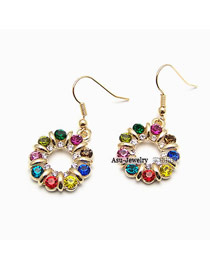 Plussize Multicolour Sparkling Twisted Circle Alloy Korean Earrings
