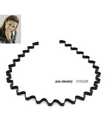 Mobile Black Wavy Alloy Hair band hair hoop