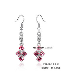 Homecoming Plum Red Earrings Alloy Crystal Earrings