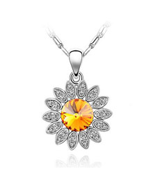 Affordable Yellow Sunflower Crystal Crystal Necklaces