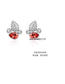 Homemade water lilies red Red Earrings Alloy Crystal Earrings