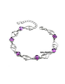 Promise Purple Heart To Heart Design Zircon Fashion Bracelets