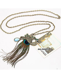 Hardy Bronze Peafowl Feather Tassels Alloy Korean Necklaces
