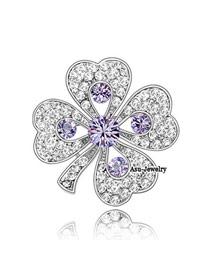 Hemming Violet Purple Brooch Alloy Crystal Brooches