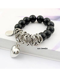 Charming Black Simple Design Heart Pendant Bead Korean Fashion Bracelet
