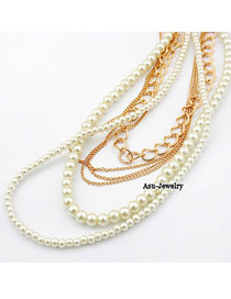 Drawstring White Multilayer Imitate Pearl Design
