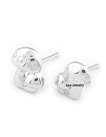 Expensive Silver Color Mushroom Shape  Design Copper Stud Earrings