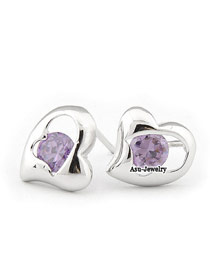 Handcrafte purple Silver Color Heart  Design Zircon Stud Earrings