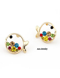 Tie Multicolour Fish Decorated With Colour Rhinestones Alloy Stud Earrings