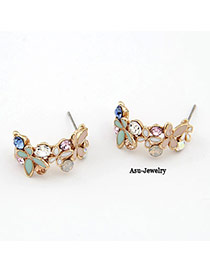 Profession Multicolour Butterfly Dancing Charm Design Alloy Stud Earrings