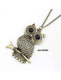 Dash Bronze Owl Standing On Branch Design Alloy Chains
