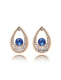 Lucky Dark Blue Earrings Alloy Crystal Earrings