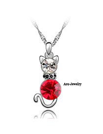 Ruby Red Lambie Cat Crystal Crystal Necklaces