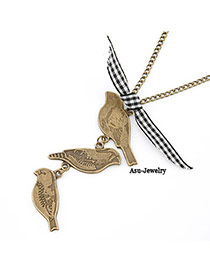 Newborn Bronze Three Magpie Pendant Alloy Korean Necklaces