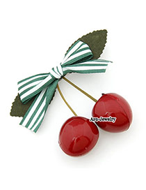 Street Green Cute Sweet Fashion Cherry Bow Tie Cloth Hair clip hair claw