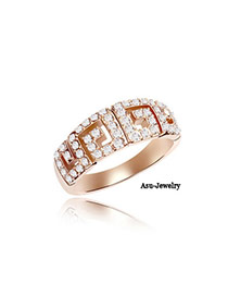 Ruby Gold Color Rings-Fairy Tale Of Love Alloy Crystal Rings