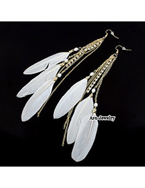 Vera White Feather Tassels Charm Design Alloy Korean Earrings