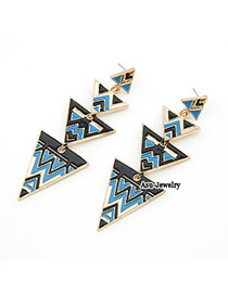 Security Multicolour Scarecrow Triangle Charm Design Alloy Stud Earrings