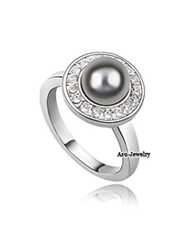 Religious Gray Pearl Alloy Crystal Rings