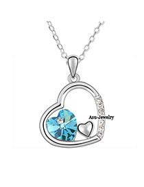 Mobile sea Blue Three Heart Design Crystal Crystal Necklaces