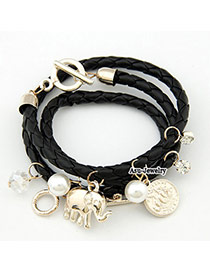 Old Black Coin Elephant Pendant PU Korean Fashion Bracelet