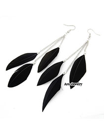 Couture Black Simple Design Feather Korean Earrings