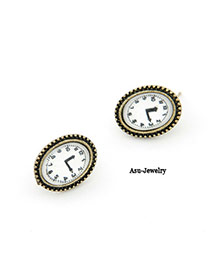 Splendid White Clock Charm Design Alloy Stud Earrings