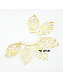 Luxurious Gold Color Hollow Out Leaf Charm Alloy Korean Earrings