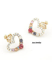 Top Rated Multicolour Heart Crown Decorated With Cz Diamond Alloy Stud Earrings