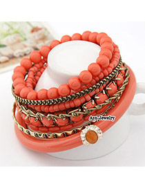 Fashion Plum Red Metal Ball Decorated Simple Design  Alloy Korean Fashion Bracelet