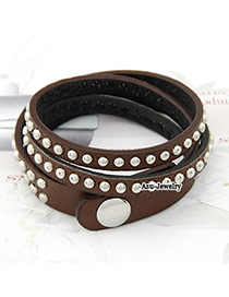 Cheerleadi Brown Multi Small Rivet PU Korean Fashion Bracelet