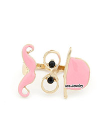 Classical Pink Moustache Alloy Korean Rings