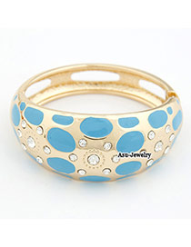Magnifying Blue Flower Alloy Fashion Bangles