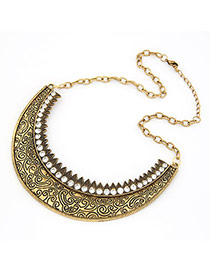 Apparel Bronze Carve Flower Alloy Korean Necklaces