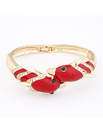 Baroque Red Dolphin Lover Design Alloy Fashion Bangles