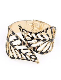 Mink Gold Color Punk Metallic Trend Leaf Alloy Fashion Bangles