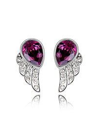 Boxed Purple Earrings Alloy Crystal Earrings